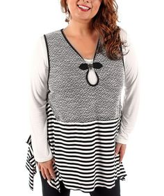 Take a look at this Black Stripe Keyhole Vest - Plus by Lily on #zulily today!