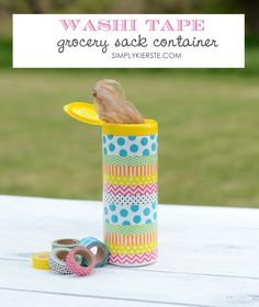 Washi Tape Grocery Sack Container