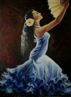 Flamenco dancer in a blue dress Spanish Dancer, Shall We Dance, Great Paintings, Dance Art, Woman Painting, Pictures To Paint, Female Art, Art Girl, Cool Art