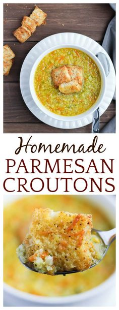 Once you see how easy and delicious Homemade Parmesan Croutons are, you will never go back to store-bought! These homemade croutons taste great on top of soups and salads!   #DLB #croutons #homemade #soup #salad #easyrecipes