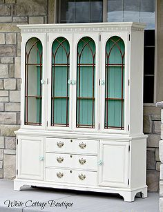 beautiful restored blue and cream hutch, chalk paint, painted furniture Furniture Projects, Furniture Makeover, Home Projects, Home Furniture, Hutch Makeover, Hutch Redo, Restoring Furniture, Furniture Repair, Fall Projects