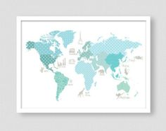 Girls Room Decor World Map Poster WMA Pink World Map Kids - Pink world map poster