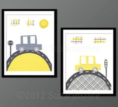 Yellow and grey Nursery Art Print Set Children by SugarInspire, $27.95