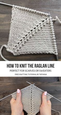 Learn how to knit the raglan line in two different styles. These beginner friendly patterns come with step by step photo and video tutorials. Baby Knitting Patterns, Knitting Stiches, Knitting Designs, Knitting Projects, Knit Stitches, Knitting Help, Easy Knitting, Free Pattern, Video Tutorials