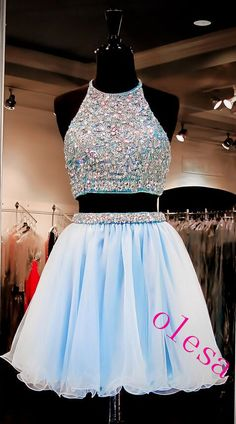 Light Sky Blue Homecoming Dresses Tulle Homecoming Dress 2 Pieces Prom Dress Two Piece Cocktail Dresses Sweet 16 Gowns 2016 Evening Gown