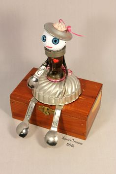 """Little Sweetheart"" ~ Found object/junk art created by Laurie Schnurer in 2016. The jewelry box opens to store treasures in side."