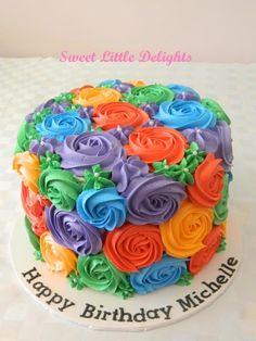 Multi Coloured Rosette Cake