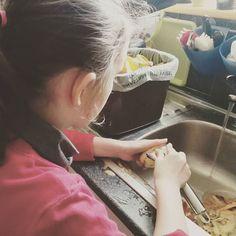 Anyone else have kittens watching their mini-me peel vegetables?  #childrencooking #healthyfood #teachingfood #peeling #vegetables #teatime