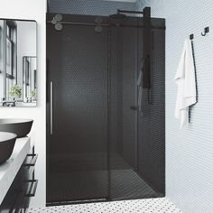 The VIGO Elan Adjustable Frameless Shower Door is everything you want and need to complete your bathroom remodel. Made with VIGO's proprietary RollerDisk Technology, this door has built-in adjustability to ensure that it is a perfect fit in your shower. This door features resilient tempered glass to prevent dangerous splinters and shards. With the option for right or left-side installation, the VIGO Elan is as versatile as it is sturdy. Stainless-steel hardware outfitted in a 7-layer plated, rus Vigo Shower Doors, Shower Door Hardware, Frameless Sliding Shower Doors, Glass Shower Doors, Glass Door, Glass Installation, Black Shower, Thing 1, Bathroom Flooring