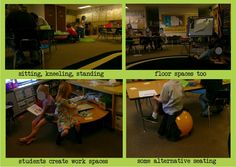 Creating alternative seating/workspace options - using all spaces, tables, chairs, floors, shelves.