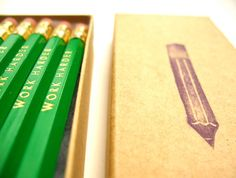 6 PENCILS - work harder green hex pencils w/ kraft pencil box - Motivational funny pencil set with gold text Work Harder, Pencil Boxes, Stationery, My Love, Green, Etsy, Motivational, Cases, Funny