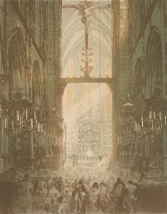 Wnętrze kościoła Panny Marii w Krakowie podczas nabożeństwa - Leon Wyczółkowski