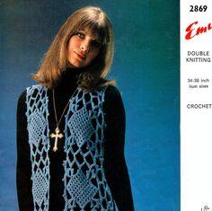 Items similar to PDF Vintage Womens Ladies Waistcoat Crochet Pattern Emu 2869 Midi Lace Motif Diamond Groovy Boho Mod Hippie Psychedelic vibe on Etsy Irish Crochet, Crochet Motif, Knit Crochet, Crochet Patterns, Diana Fashion, Hippie Chick, Emu, Vintage Knitting, Hippy