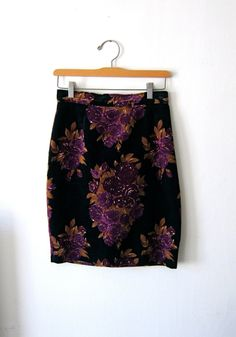 Your place to buy and sell all things handmade Velvet Skirt, Vintage Shops, Classy, Purple, My Style, Floral, Skirts, Fabric, Pattern