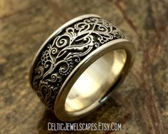 HARLEQUIN Gothic style wedding band in sterling silver antique patina with scrollwork design Wedding Men, Wedding Bands, Jewelry Rings, Jewelery, Coin Ring, Gothic Jewelry, Gothic Fashion, Or Rose, Band Rings