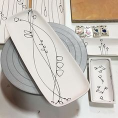 I don't often cross lines while decorating. Glass Ceramic, Ceramic Decor, Pottery Plates, Ceramic Pottery, Pottery Painting Designs, General Crafts, Ceramic Design, Simple Gifts, Ceramic Painting