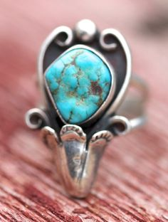 Vintage Navajo Sterling Silver Turquoise Squash Blossom Ring