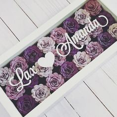 To love and be loved... show your love with this wedding shadow box frame filled with your favorite colors! Stunning, faux flowers would make the perfect flower centerpiece on their big day! The purchase of this listing is for a faux paper flower shadow box with the following