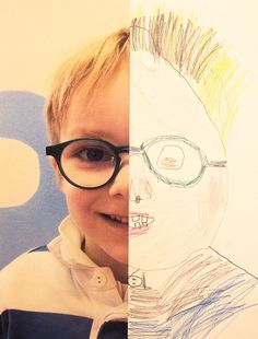 Love these! 6 Half Self Portraits Project by Hannahs Art Club. by: http://diypro1.blogspot.com/
