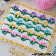 This Pin was discovered by Nev Knitted Flowers, Crochet Flower Patterns, Crochet Stitches Patterns, Crochet Motif, Crochet Designs, Crochet Doilies, Knitting Patterns, Diy Crochet Scarf, Puff Stitch Crochet