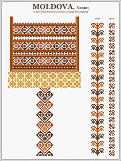 Semne Cusute: Romanian Blouse - MOLDOVA, Neamt - Garcina Embroidery Sampler, Folk Embroidery, Cross Stitch Embroidery, Embroidery Patterns, Quilt Patterns, Sewing Patterns, Cross Stitch Borders, Cross Stitch Designs, Cross Stitching