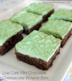 Low Carb Mint Chocolate Cheesecake Brownie Bars - a sugar free sweet treat