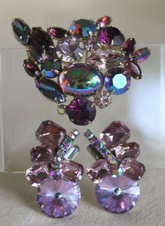 Vintage Juliana D&E Rivoli Shades Of Purple Rhinestone Earrings + Brooch Pin  | eBay