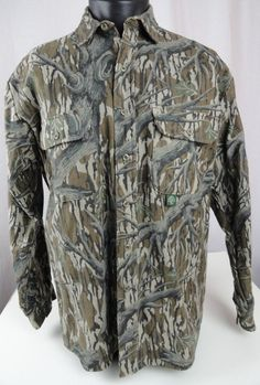 VTG Mossy Oak Mens L Shirt Made in USA Camouflage Long Sleeve Button Up Pockets #MossyOak #ButtonFront