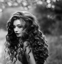 long dark curly hair