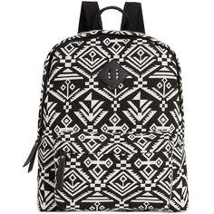 Madden Girl Bkoach Backpack ($30) ❤ liked on Polyvore featuring bags, backpacks, black white aztec, black and white bag, madden girl, aztec backpack, rucksack bag and madden girl backpack