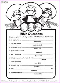 Worksheets Bible Worksheets For Kids 1000 images about sunday school craft ideas on pinterest jesus answer different questions from the bible kids korner biblewise