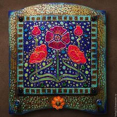 """Купить Панно-вешалка """"Аленький цветочек"""" - комбинированный, вешалка, панно, аленький цветочек, маки, мозаика"""