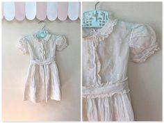 vintage little girl's party dress - LOLLIPOP white gauzy dress / 3-4T on Etsy, $28.00