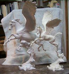 Pegasus Mom and Baby Pegasus. San Diego sculptor