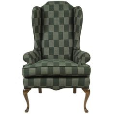 Classical Wing Chair Reupholstered in Green Plaid African Fabric | From a unique collection of antique and modern armchairs at https://www.1stdibs.com/furniture/seating/armchairs/