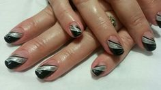 Black and silver Ninas Nails, Silver, Beauty, Black, Money, Black People