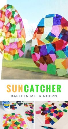 Bastelanleitung: Osterei Suncatcher basteln mit Kindern Suncatcher tinker with children: Easter eggs made from transparent paper Easter egg Window pictures tinker with children: Sun catchers Easter eg Fall Crafts, Easter Crafts, Home Crafts, Arts And Crafts, Diy Crafts, Creative Crafts, Craft Instructions For Kids, Papier Kind, Sun Catchers
