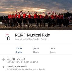 "TODAY  TMRO  today at 2pm (doors at 1) Admission is ""FREE (with a food or cash donation to FEED Nova Scotia."" . July 18-19  2017 RCMP Musical Ride on the Halifax Citadel Garrison Grounds . As part of 2017 celebrations Parks Canada and the Halifax Citadel National Historic Site are pleased to welcome the RCMP Musical Ride to the Garrison Grounds for two special performances. A spectacle known around the world the RCMP Musical Ride is performed by a full troop of 32 riders and their horses…"