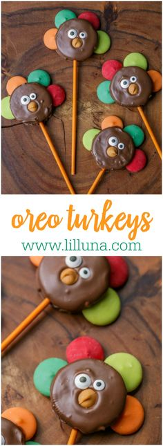 holiday treats Oreo Turkeys - chocolate dipped oreos with candy melts as feathers, candy eyes and a butterscotch chip beak. Kids love these! Kid Desserts, Holiday Desserts, Holiday Baking, Holiday Treats, Holiday Recipes, Holiday Foods, Halloween Baking, Apple Recipes, Pumpkin Recipes