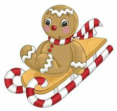 Gingerbread Boy Sled -- By Ronnie Rooney Christmas Rock, Christmas Gingerbread, Felt Christmas, All Things Christmas, Christmas Crafts, Christmas Ornaments, Xmas, Gingerbread Ornaments, Gingerbread Men