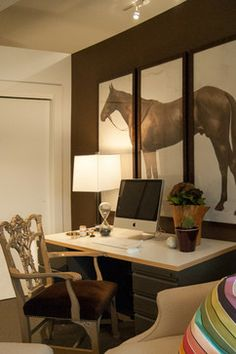 For The Work Area In The Office, A Luscious Brown From Ralph Lauren Paints.  A Massive Triptych Of A Horse Hangs Above The Desk, Paired With A Custom  Hickory ...