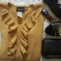 SAG HARBOR RUFFLE SWEATER SMALL TAN COLORED SAG HARBOR SWEATER V NECK WITH RUFFLES  COLOR IS TAN... 2ND & 3RD PICS CLOSEST TO ACTUAL COLORING TAN DARK BEIGE 100% acrylic mayerial & very soft  selling because it was a gift, and its NOT my color lol it washes me out too much  NO TRADES Sag Harbor Tops