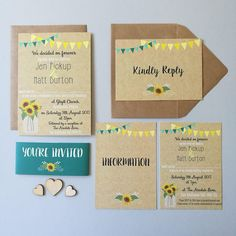 Wedding Invitation Bundle, Rustic, Bunting, Sunflower  - Invitation, RSVP, Info Card - These are my wedding invites! They are beautiful in real life and Aimee is the dream to work with! Sunflower Wedding Invitations, Bunting, Rsvp, Invites, Handmade Gifts, Floral, Real Life, Cards, Rustic