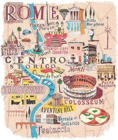 Where is Rome in Italy on a map? Find out interesting facts about Rome you need for your next trip: What's the weather like, where is Vatican city and more. Rome Travel, Travel Maps, Italy Travel, Italy Vacation, Travel Destinations, Rome Map, Voyage Rome, Travel Illustration, Italy Illustration