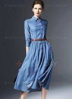 Vestidos de - $153.99 - misturas de algodão Plain Manga 3/4 Midi Informal Vestidos de (1955096055)