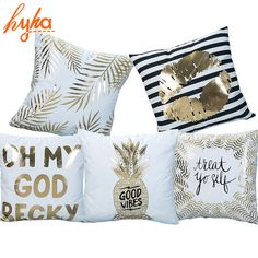 Hyha Bronzing Cushion Cover Printed Pineapple Luxury Tropical Linen Polyester Home Decorative Pillows Cover for Sofa Pillowcase Linen Pillows, Throw Pillows, Heart Pillow, Printed Cushions, Printed Linen, Gold Foil Print, Designer Pillow, Decorative Pillow Covers, Home Textile