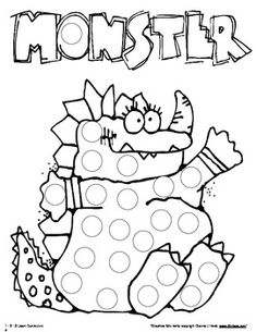 Free!  Monster Paint Dauber Sheets, 11 pages