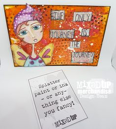 For the Pick n Mix challenge over at Mixed Up,I have created a 6x4 postcard I have used Brushos in the background and then I have splattered white paint then added my character to the postcard. hugs Aly xx https://www.facebook.com/groups/mixedupmagmixer/