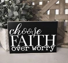 Wood Projects Choose Faith Over Worry Rustic Wood Sign - Rustic wood sign. Measures Sign will come ready to hang. Ready to ship in weeks. Rustic Wood Signs, Wooden Signs, Rustic Decor, Vinyl Projects, Projects To Try, Pallet Projects, Crafts To Sell, Diy And Crafts, Chandeliers