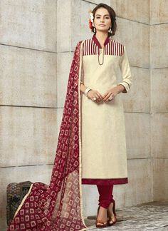 cream-khadi-silk-party-wear-embroidered-work-churidar-suit